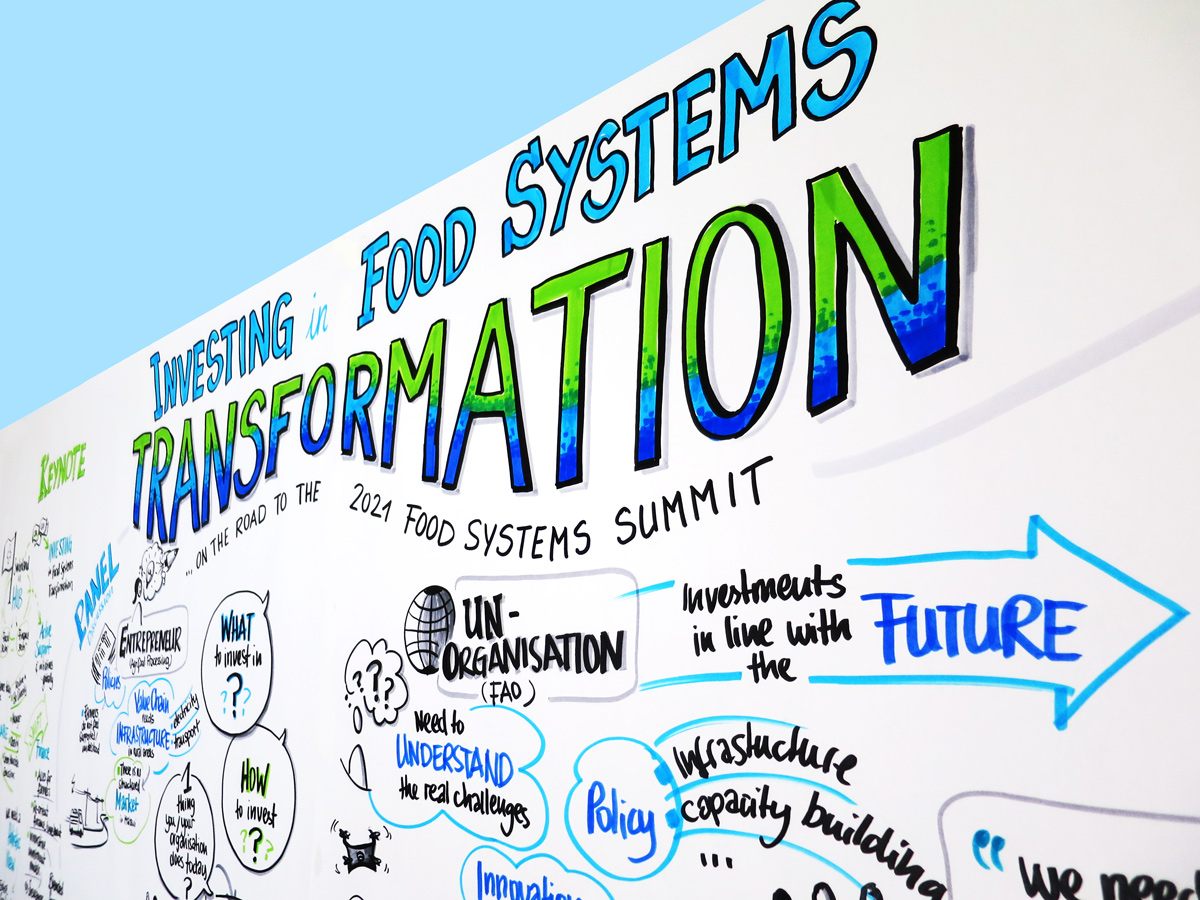 Detail of graphic recording of the panel discussion on 'Investing in Food Systmes Transformation' during the World Economic Forum 2020