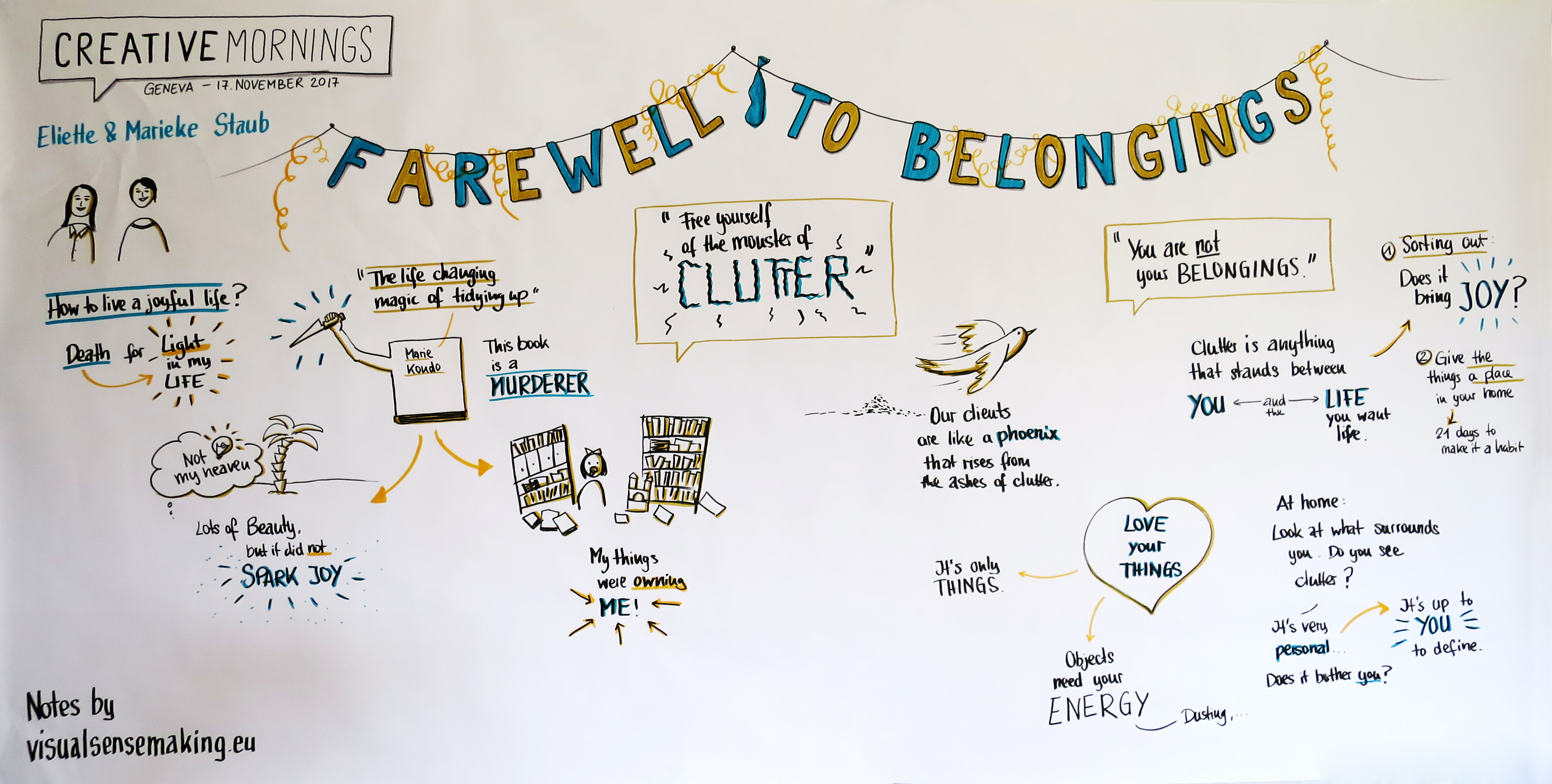 Graphic recording summarizing the talk 'Farewell to Belonging'