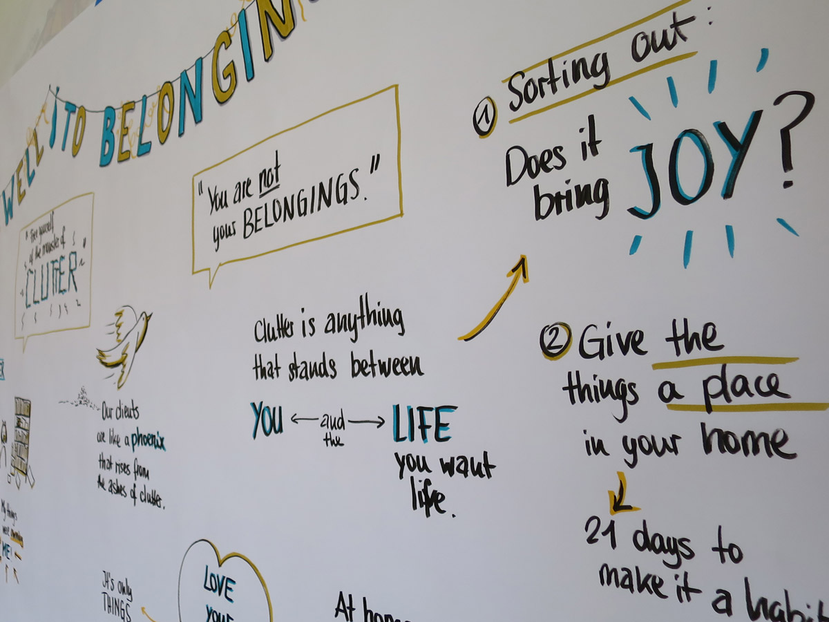 Detail of graphic recording of the talk 'Farewell to belongings'